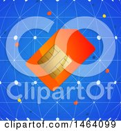 Clipart Of A Sim Card Over A Blue Network Royalty Free Vector Illustration