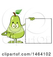 Pear Mascot Character Pointing To A Blank Sign