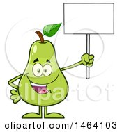 Pear Mascot Character Holding A Blank Sign