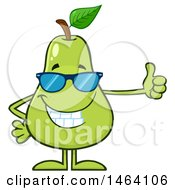 Clipart Of A Pear Mascot Character Wearing Shades And Giving A Thumb Up Royalty Free Vector Illustration