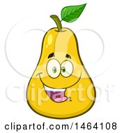 Clipart Of A Yellow Pear Mascot Character Royalty Free Vector Illustration