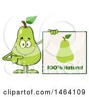 Pear Mascot Character Holding A Natural Sign