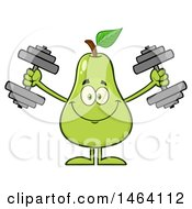 Pear Mascot Character Working Out With Dumbbells