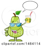 Pear Mascot Character Talking And Holding A Glass Of Juice