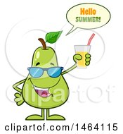 Clipart Of A Pear Mascot Character Talking And Holding A Glass Of Juice Royalty Free Vector Illustration