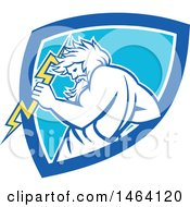 Clipart Of A Retro Zeus Holding A Thunder Bolt In A White And Blue Shield Royalty Free Vector Illustration by patrimonio