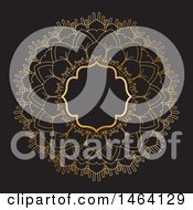 Clipart Of A Golden Mandala Frame On Black Royalty Free Vector Illustration