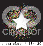 Clipart Of A White Star Frame Over Colorful Confetti On Black Royalty Free Vector Illustration