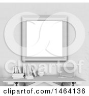 Clipart Of A 3d Blank Picture Frame Over A Desk Royalty Free Illustration