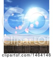 Clipart Of A 3d Wood Surface Over A Summer Sky Royalty Free Illustration