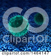 Background Of 3d Green Virus Cells On Blue