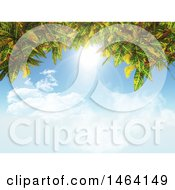 3d Border Of Leaves And Blue Sky