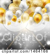 Background Of Gold And Silver Balloons Over Rays