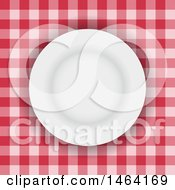 White Plate On Red Gingham Tablecloth
