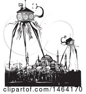 Clipart Of Steampunk Martian Tripod Robots Invading Istanbul Turkey Black And White Woodcut Royalty Free Vector Illustration