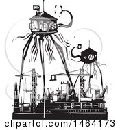 Steampunk Martian Tripod Robots Invading A Factory Black And White Woodcut