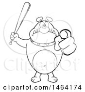 Black And White Bulldog Holding Up A Bat And Pointing At The Viewer