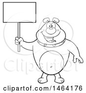 Clipart Of A Black And White Bulldog Holding A Blank Sign Royalty Free Vector Illustration