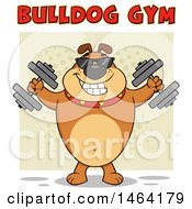 Brown Bulldog Working Out With Dumbbells Under Text