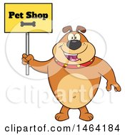 Clipart Of A Brown Bulldog Holding A Pet Shop Sign Royalty Free Vector Illustration
