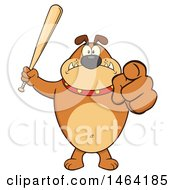 Clipart Of A Brown Bulldog Holding Up A Bat And Pointing At The Viewer Royalty Free Vector Illustration by Hit Toon
