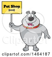Clipart Of A Gray Bulldog Holding A Pet Shop Sign Royalty Free Vector Illustration