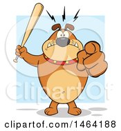 Brown Bulldog Holding Up A Bat And Pointing At The Viewer Over Blue