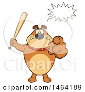 Brown Bulldog Holding Up A Bat And Pointing At The Viewer Under A Speech Balloon