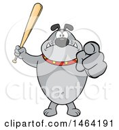 Gray Bulldog Holding Up A Bat And Pointing At The Viewer