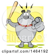 Gray Bulldog Holding Up A Bat And Pointing At The Viewer Over Yellow