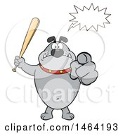 Clipart Of A  Gray Bulldog Holding Up A Bat And Pointing At The Viewer With A Speech Balloon Royalty Free Vector Illustration