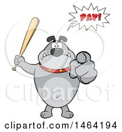 Gray Bulldog Holding Up A Bat And Pointing At The Viewer And Saying Pay