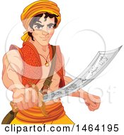 Clipart Of A Man Aladdin Wielding A Saber Royalty Free Vector Illustration