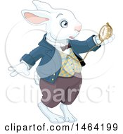 Late White Rabbit Of Wonderland Looking At A Watch