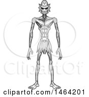 Clipart Of A Black And White Standing Creature Or Alien Royalty Free Vector Illustration by Cory Thoman