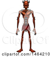 Clipart Of A Standing Demon Royalty Free Vector Illustration by Cory Thoman