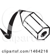 Clipart Of A Black And White Short Pencil Drawing A Check Mark Royalty Free Vector Illustration by Johnny Sajem