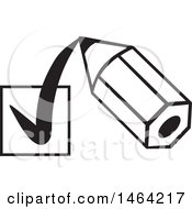 Clipart Of A Black And White Short Pencil Drawing A Check Mark In A Box Royalty Free Vector Illustration