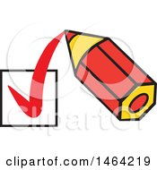 Clipart Of A Short Red Pencil Drawing A Check Mark In A Box Royalty Free Vector Illustration