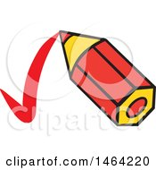 Clipart Of A Short Red Pencil Drawing A Check Mark Royalty Free Vector Illustration