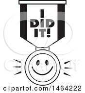 Clipart Of A Black And White Smiley Face And I Did It Ribbon Royalty Free Vector Illustration