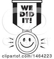Clipart Of A Black And White Smiley Face And We Did It Ribbon Royalty Free Vector Illustration