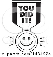 Clipart Of A Black And White Smiley Face And You Did It Ribbon Royalty Free Vector Illustration
