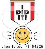 Clipart Of A Smiley Face And I Did It Ribbon Royalty Free Vector Illustration