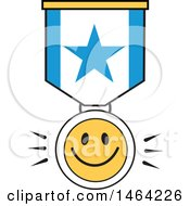 Clipart Of A Smiley Face And Star Ribbon Royalty Free Vector Illustration