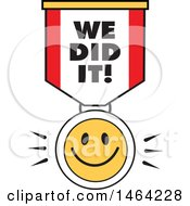 Clipart Of A Smiley Face And We Did It Ribbon Royalty Free Vector Illustration