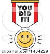 Clipart Of A Smiley Face And You Did It Ribbon Royalty Free Vector Illustration