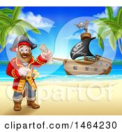Clipart Of A Happy Male Pirate Captain Holding A Treasure Map On A Tropical Beach With A Ship In The Background Royalty Free Vector Illustration