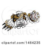 Poster, Art Print Of Vicious Tough Bulldog Monster Shredding Through A Wall With A Baseball In One Hand