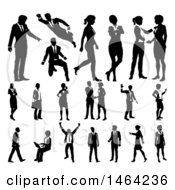 Poster, Art Print Of Black And White Silhouetted Business Men And Women